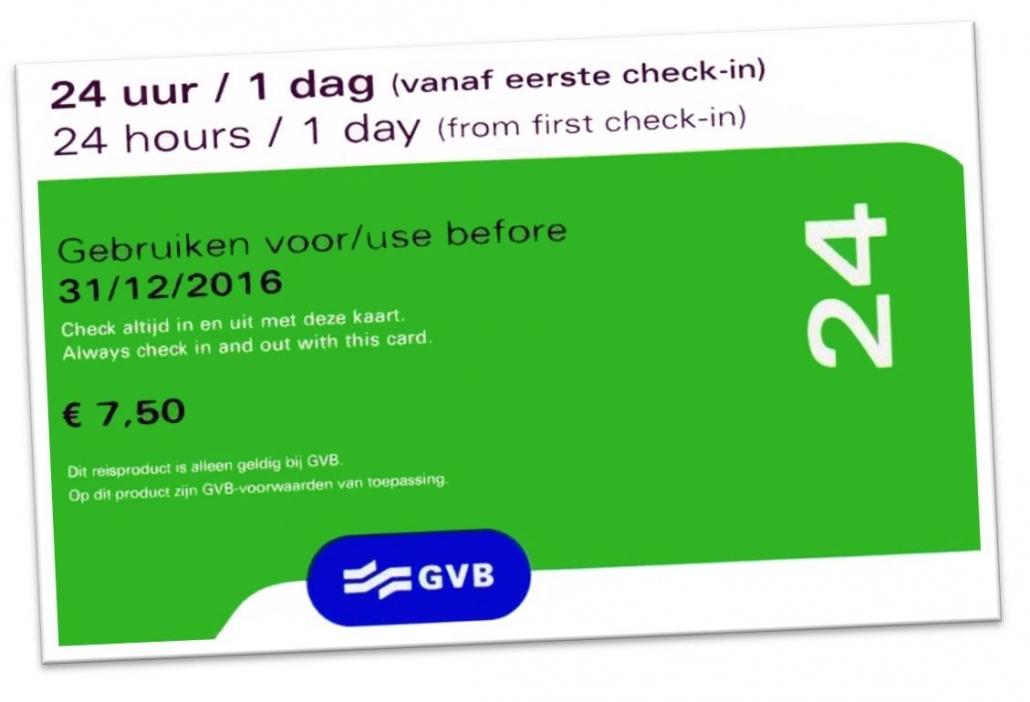 GVB Amsterdam billet transports en commun 1 à 7 jours